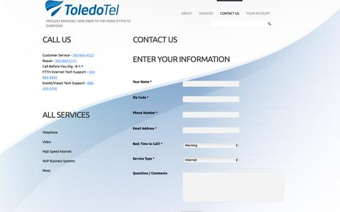 Screenshot of Contact Page toledotel.com - Contact Us  |  ToledoTel - captured Oct. 19, 2018