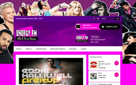 Screenshot of Home Page dancemusicradio.net - Home | Energy FM Tenerife - captured Oct. 29, 2018
