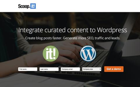 Screenshot of Landing Page scoop.it - Integrate Curated Content to Wordpress - captured Aug. 14, 2016