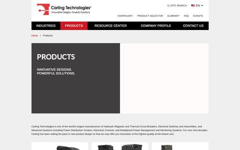 Screenshot of Products Page carlingtech.com - Products | carlingtech.com - captured March 21, 2019