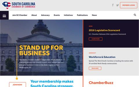 Screenshot of Home Page scchamber.net - Homepage | South Carolina Chamber of Commerce - captured Dec. 1, 2016
