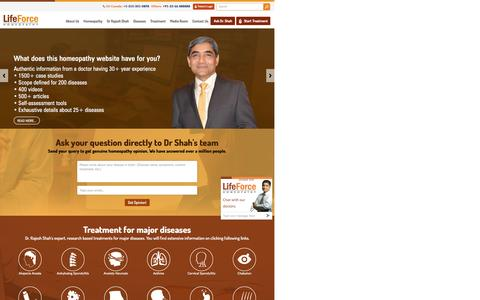 Screenshot of Home Page askdrshah.com - Ask Dr Rajesh Shah, MD Homeopathic Doctor in Mumbai at Life Force Homeopathy         Clinic - captured Nov. 7, 2016