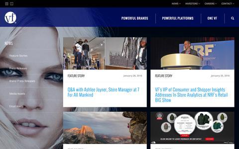Screenshot of Press Page vfc.com - News :: VF Corporation (VFC) - captured Feb. 1, 2016