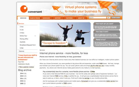 Screenshot of Services Page conversant.co.nz - Phone Over Internet - Internet Phone Providers | Conversant.co.nz - captured Oct. 10, 2014