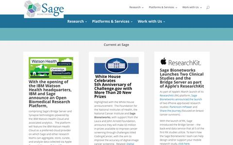 Screenshot of Home Page sagebase.org - Sage Bionetworks | A Non Profit Biomedical Research Organization - captured Oct. 7, 2015