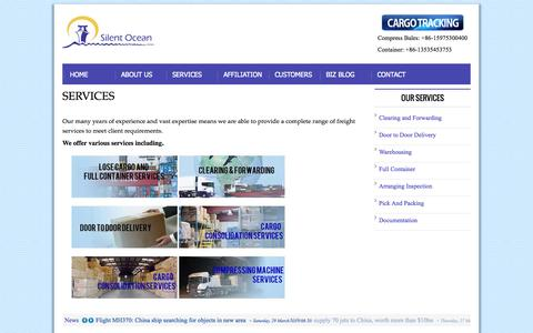 Screenshot of Services Page silentoceanlimited.com - Our Services - Clearing and Forwarding - captured Sept. 29, 2014