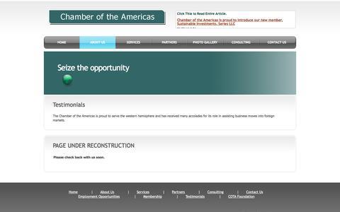 Screenshot of Testimonials Page chamberoftheamericas.com - Testimonials   Chamber of the Americas - captured July 12, 2016