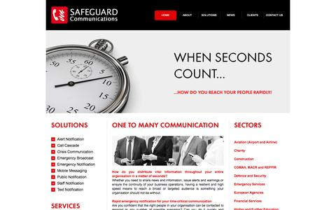 Screenshot of Home Page safeguardcomms.co.uk - Emergency Notification | Automated Notification| Safeguard Communications - captured Jan. 23, 2015