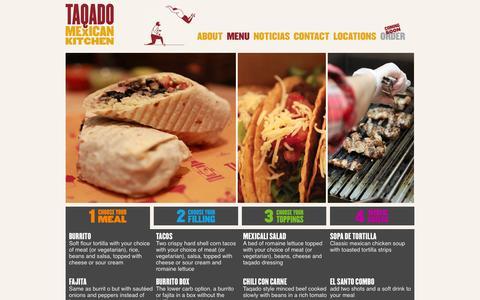 Screenshot of Menu Page taqado.com - Taqado Mexican Kitchen : MENU | Taqado - captured Oct. 27, 2014