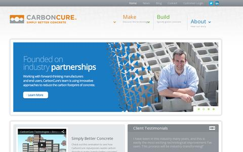 Screenshot of Home Page carboncure.com - CarbonCure Technologies - Simply better concrete. - captured July 11, 2014