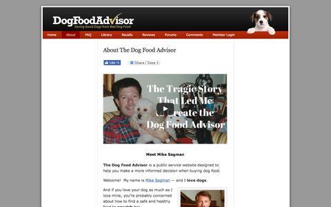 Screenshot of About Page dogfoodadvisor.com - About Mike Sagman and The Dog Food Advisor - captured Aug. 25, 2017