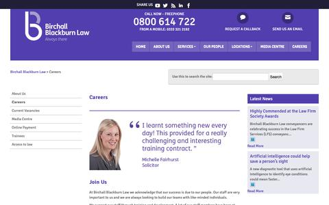 Screenshot of Jobs Page birchallblackburn.co.uk - Vacancies at Birchall Blackburn Law | Birchall Blackburn Law - captured Oct. 5, 2018