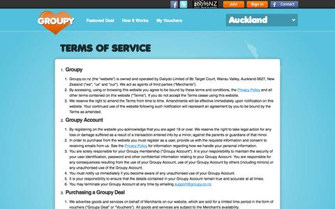 Screenshot of Terms Page groupy.co.nz - Terms of Service - Groupy - captured Sept. 30, 2014