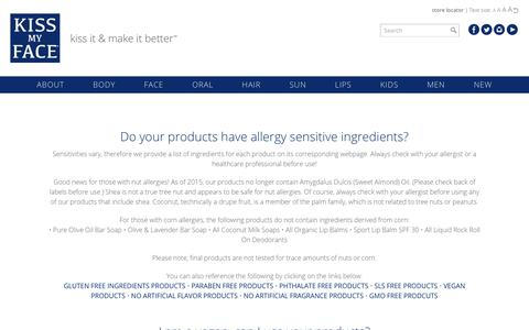 Screenshot of FAQ Page kissmyface.com - Kiss My Face: Skin Care Products | Natural Ingredients - captured Oct. 15, 2018