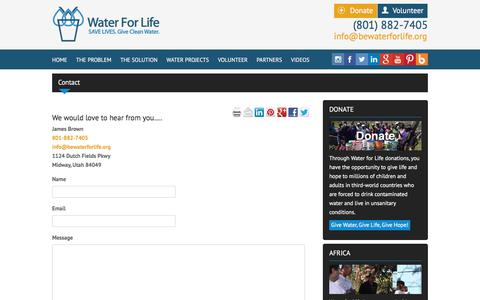 Screenshot of Contact Page bewaterforlife.org - Contact the Water For Life Organization   Water For Life - captured July 8, 2018
