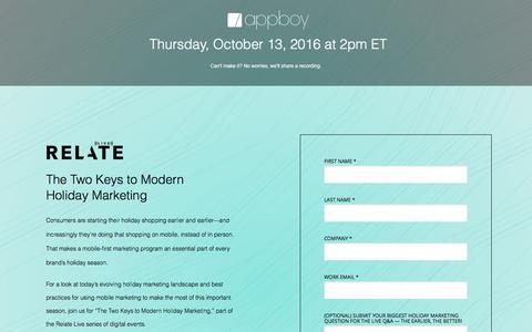 Screenshot of Landing Page appboy.com - Holiday Marketing Webinar   Appboy - captured Sept. 30, 2016