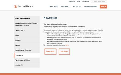 Screenshot of Signup Page secondnature.org - Newsletter - Second Nature - captured Sept. 21, 2018
