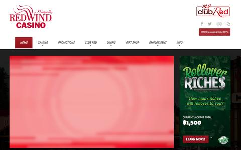 Screenshot of Home Page redwindcasino.com - Nisqually Red Wind Casino - captured April 29, 2017