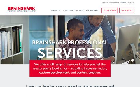 Screenshot of Services Page brainshark.com - Professional Services | Brainshark | Brainshark - captured Jan. 16, 2017