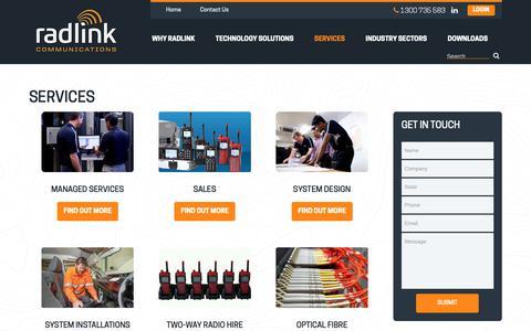 Screenshot of Services Page radlink.com.au - Services | Radlink Communications - captured Oct. 18, 2018