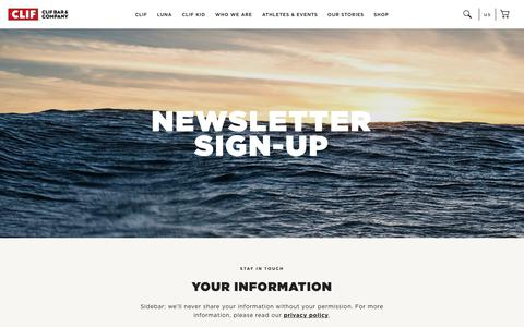 Screenshot of Signup Page clifbar.com - Newsletter Sign-up - captured July 12, 2018