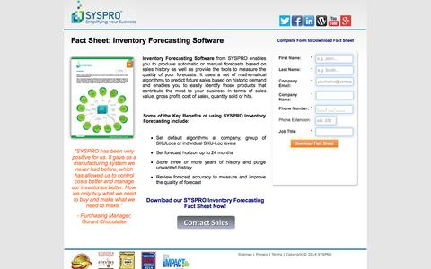 Screenshot of Landing Page syspro.com - SYSPRO Inventory Forecasting Software - captured Oct. 27, 2014