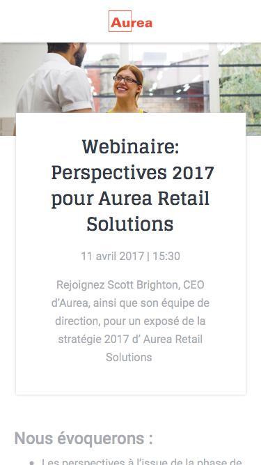 Webinaire : Perspectives 2017 pour Aurea Retail Solutions  | Aurea