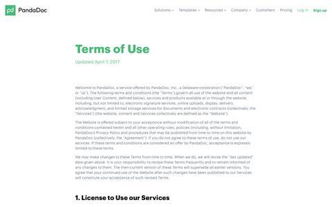 Terms of Use - PandaDoc