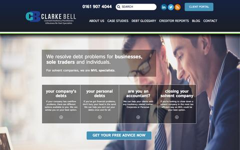 Screenshot of Home Page clarkebell.com - Licensed Insolvency Practitioners | Business Insolvency and Liquidation Advice | Clarke Bell, Manchester - captured Oct. 2, 2015