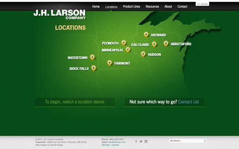 Screenshot of Locations Page jhlarson.com - Locations - JH Larson serving Minneapolis, MN, WI, ND, SD, and IA - captured Oct. 4, 2014
