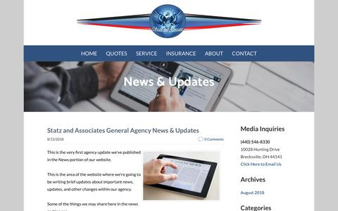 Screenshot of Press Page statzandassociates.com - Statz and Associates General Agency - Agency News & Updates - captured Sept. 21, 2018