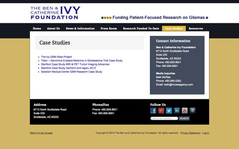 Screenshot of Case Studies Page ivyfoundation.org - Case Studies - - captured Oct. 26, 2014
