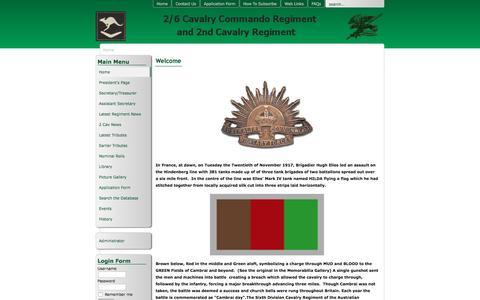 Screenshot of Home Page Menu Page 26cavcommando.org.au - 2/6 Cavalry Commando Regiment Association - Home - captured June 23, 2016