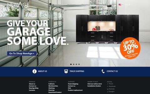 Screenshot of Home Page newageproducts.com - NewAge Products – Garage Cabinets, Workbenches, Shelving - captured Feb. 24, 2016