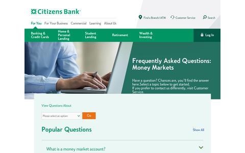 Screenshot of FAQ Page citizensbank.com - Money Market FAQs | Citizens Bank - captured April 19, 2019
