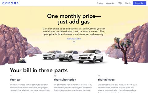 Screenshot of Pricing Page joinbreeze.com - Canvas - A simple alternative to car ownership - captured June 2, 2018