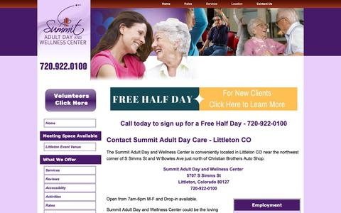 Screenshot of Contact Page summitadultday.com - Contact Adult Day Care Littleton - captured May 29, 2019