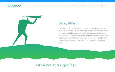 Screenshot of Jobs Page totango.com - Careers | Totango | Customer Success Software - captured Oct. 2, 2015