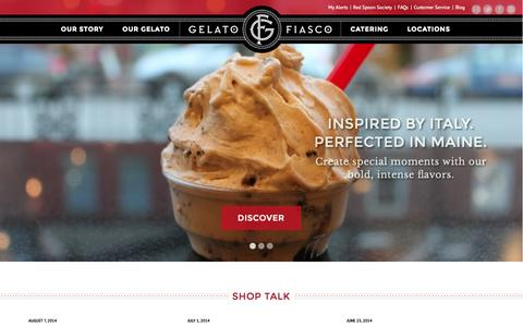 Screenshot of Home Page gelatofiasco.com - Gelato Fiasco: Inspired by Italy. Perfected in Maine. - captured Sept. 16, 2014