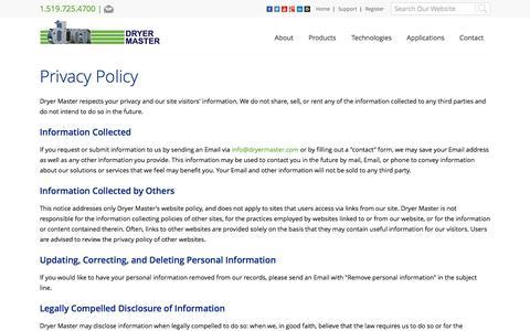 Screenshot of Privacy Page dryermaster.com - - Dryer Master Inc. - captured Sept. 30, 2014