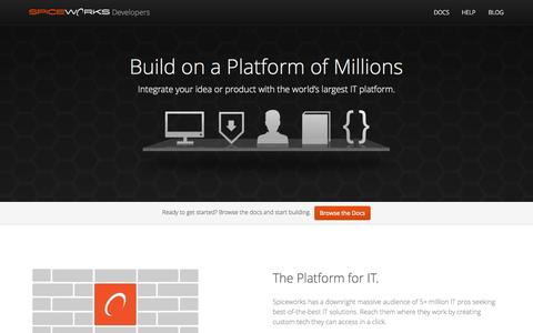 Screenshot of Developers Page spiceworks.com - Spiceworks Developers - captured Sept. 17, 2014