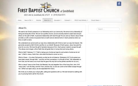 Screenshot of About Page fbcsmithfield.org - About Us – First Baptist Church Smithfield - captured Nov. 14, 2018
