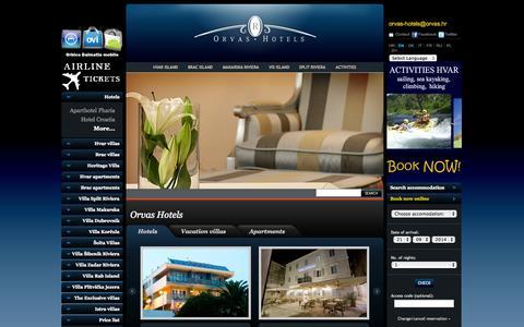 Screenshot of Home Page orvas-hotels.com - Orvas Hotels Croatia - captured Sept. 22, 2014