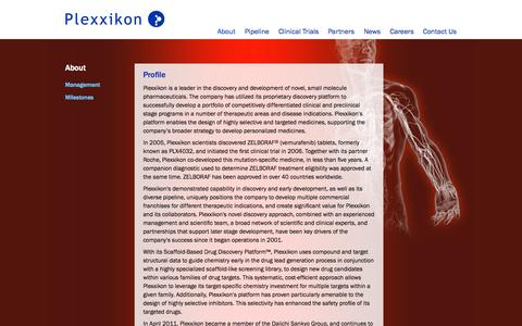 Screenshot of About Page plexxikon.com - Oncology, CNS and Autoimmune & Bone | Plexxikon - captured Oct. 2, 2014