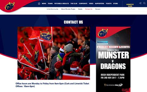 Screenshot of Contact Page munsterrugby.ie - Munster Rugby | Contact Us - captured Oct. 21, 2017