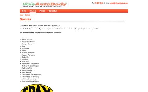 Screenshot of Services Page valeautobody.co.uk - Services | Vale Autobody - captured Oct. 27, 2014