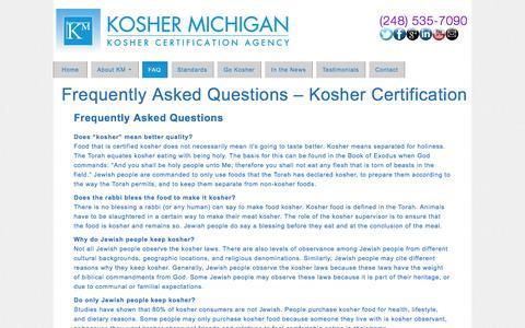 Screenshot of FAQ Page koshermichigan.com - Answers About Kosher Food Certification - captured Jan. 9, 2016