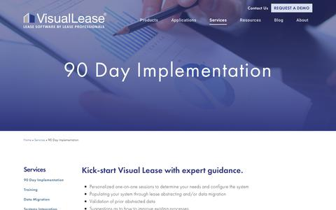 Screenshot of Services Page visuallease.com - 90 Day Implementation - captured Sept. 20, 2018