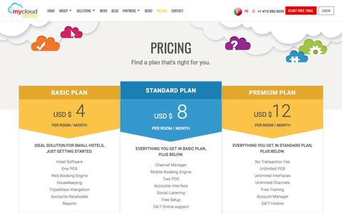 Screenshot of Pricing Page mycloudhospitality.com - Hotel Software Pricing | Cloud-based Hotel PMS Pricing Plan - captured Nov. 28, 2017