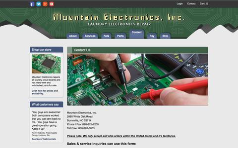 Screenshot of Contact Page mountain-electronics.com - Contact Us | Mountain Electronics - captured Feb. 28, 2016